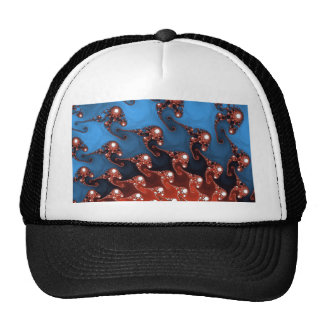 Fancy Blue Red Abstract Mesh Hats