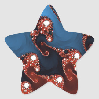 Fancy Blue Red Abstract Star Sticker