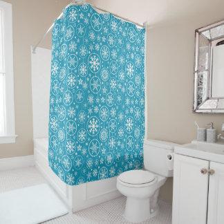 Fancy Blue Snowflake Shower Shower Curtain