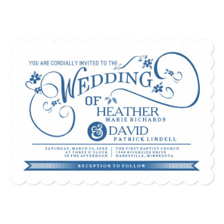 Fancy Blue & White You Are Invited Wedding Invite