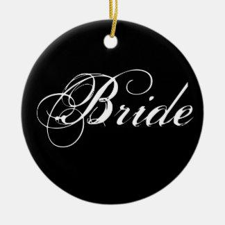 Fancy Bride On Black Christmas Tree Ornament