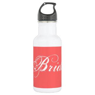 Fancy Bride On Coral 18oz Water Bottle