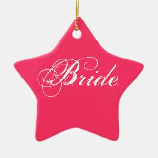 Fancy Bride On Dark Pink Christmas Ornament