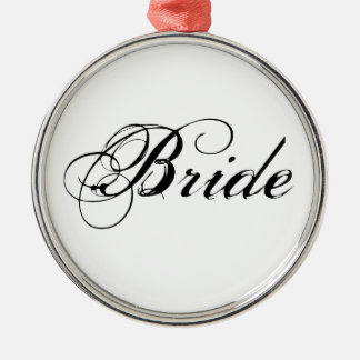 Fancy Bride On Grey Silver-Colored Round Decoration