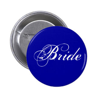 Fancy Bride On Navy Pinback Buttons