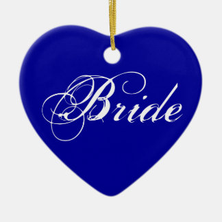 Fancy Bride On Navy Christmas Ornament
