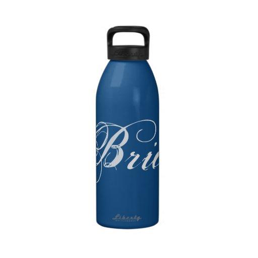 Fancy Bride On Navy Reusable Water Bottles