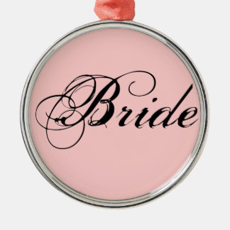 Fancy Bride On Pink Silver-Colored Round Decoration