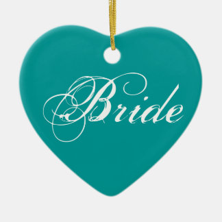 Fancy Bride On Teal Ornaments