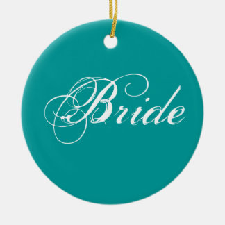 Fancy Bride On Teal Christmas Tree Ornament