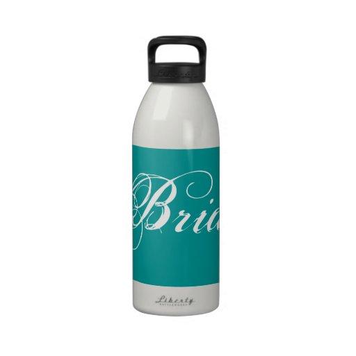 Fancy Bride On Teal Water Bottles