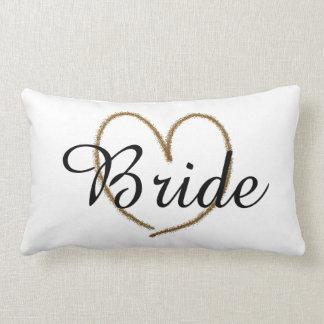"Fancy ""Bride"" With Big Gold Heart Lumbar Cushion"