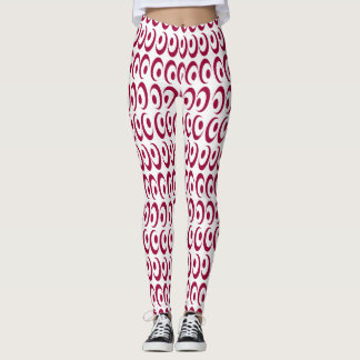 Fancy Bright Vibrant Crazy Red Swirls Designed Leggings