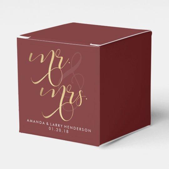 Fancy Burgundy & Gold Wedding Favour Box