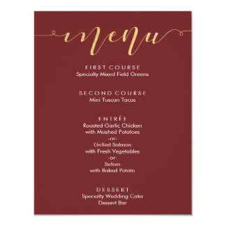Fancy Burgundy & Gold Wedding Menu Card
