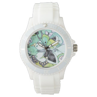 Fancy Butterfly Collage Water Color Print Designed Watch