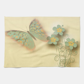 Fancy Butterfly & Flowers Tea Towel