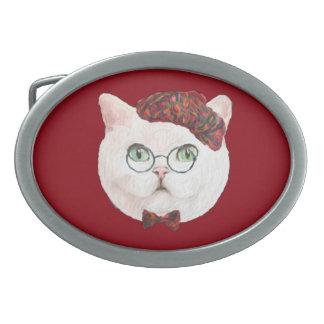 Fancy Cat Lovers Decor Top Hat Bow Tie Glasses Oval Belt Buckles