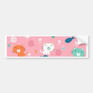 Fancy Cat pink pattern Bumper Sticker