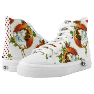 Fancy Cat with Holly Berry   Vintage Christmas High Tops