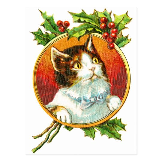 Fancy Cat with Holly Berry | Vintage Christmas