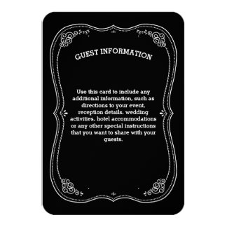 Fancy Chalkboard Vintage Wedding Guest Information Card