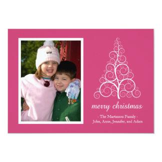 Fancy Christmas Tree Card (Dark Pink) 13 Cm X 18 Cm Invitation Card