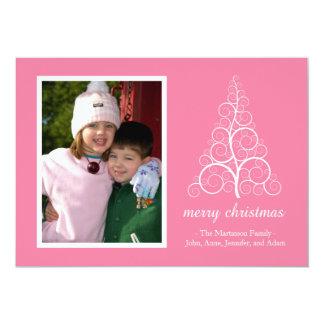 Fancy Christmas Tree Card (Pink) 13 Cm X 18 Cm Invitation Card