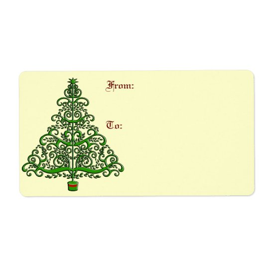 Fancy Christmas Tree Large Gift Labels