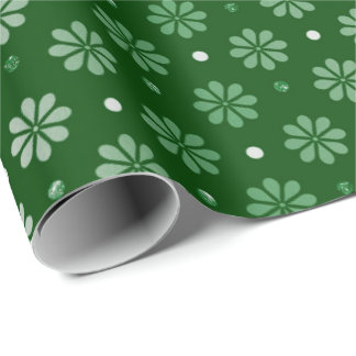Fancy Circles Daisy Green Emerald Flowers Grass Wrapping Paper