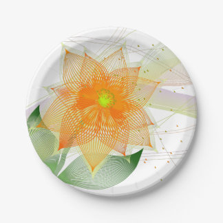 Fancy colorful abstract flower paper plate