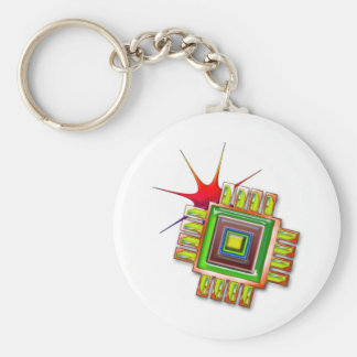 Fancy Computer Chip Basic Round Button Key Ring