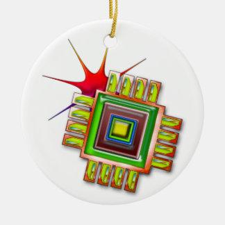 Fancy Computer Chip Round Ceramic Decoration