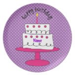 Fancy Custom Polka Dot Birthday Plate for Girls