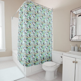 Fancy Cute Butterfly Collage Tinted Vendredi Shower Curtain