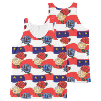 Fancy Cute Red White Blue Star USA Flag and Roses All-Over Print Tank Top