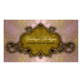 Fancy Damask Pink and Gold Botique Business Card