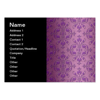 Fancy Damask Purple over Mauve Pink Business Card Template