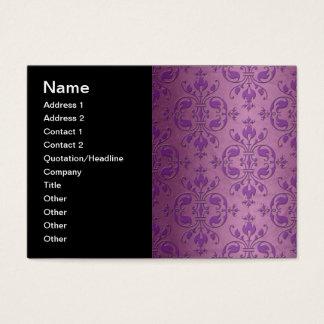 Fancy Damask Purple over Mauve Pink Business Card