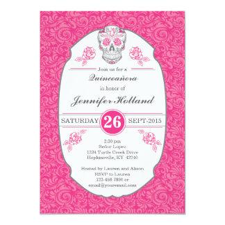 Fancy Damask Skull Pink Quinceañera Invitations