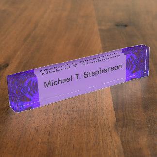 Fancy Dark Purple Abstract Design Desk Name Plates