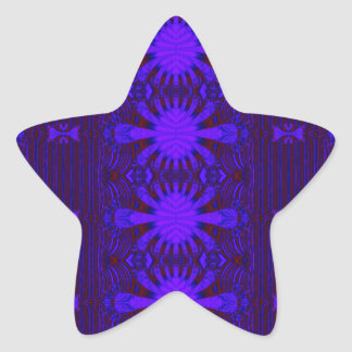 Fancy Dark Purple Blue Abstract Star Sticker