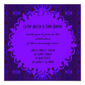 Fancy Dark Purple Blue Wedding 13 Cm X 13 Cm Square Invitation Card