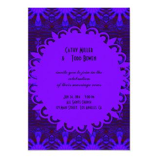 Fancy Dark Purple Blue Wedding 13 Cm X 18 Cm Invitation Card