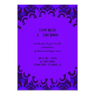 Fancy Dark Purple Blue Wedding 9 Cm X 13 Cm Invitation Card