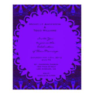 Fancy Dark Purple Blue Wedding Full Color Flyer