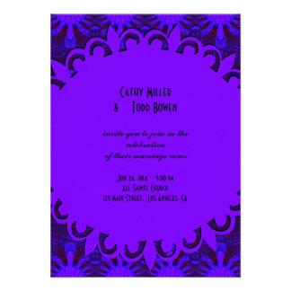Fancy Dark Purple Blue Wedding Custom Invitations