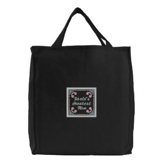 Fancy Decorative Frame Deco Heart Mom Embroidery Embroidered Tote Bag