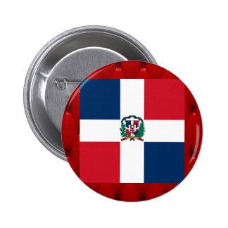 Fancy Dominican Republic Flag on red velvet backgr 6 Cm Round Badge