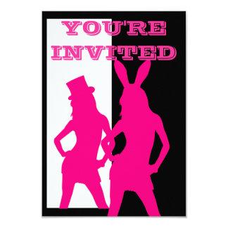 Fancy dress girls in pink 9 cm x 13 cm invitation card